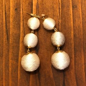 String-wrapped 3 tiered ball statement earrings